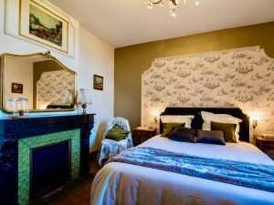 Des coussins de velours douillets posés sur le grand lit et un miroir à vague posé sur la cheminée en marbre noir